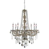 Elegant Lighting 8-Light Golden Teak Chandelier with ...