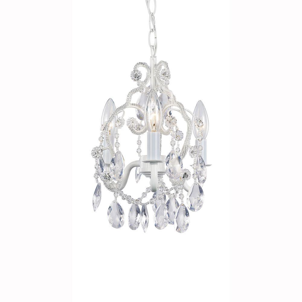 Hampton Bay 3-Light White Mini Chandelier with Crystal