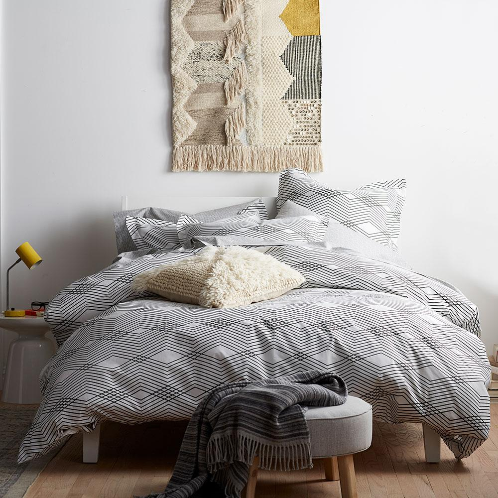 f77366d44c5 Cstudio Home By The Company Store Wave Black White Organic Full Duvet Cover