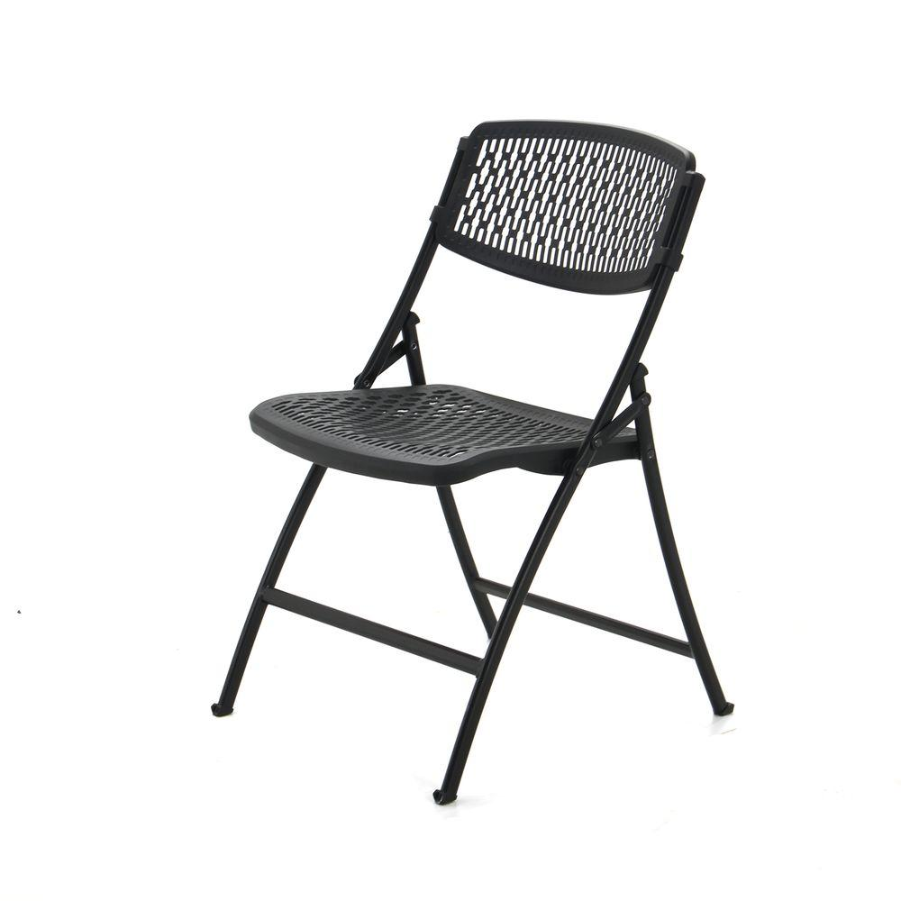 Flex Chairs Hdx Black Plastic Seat Outdoor Safe Folding Chair Set Of 4