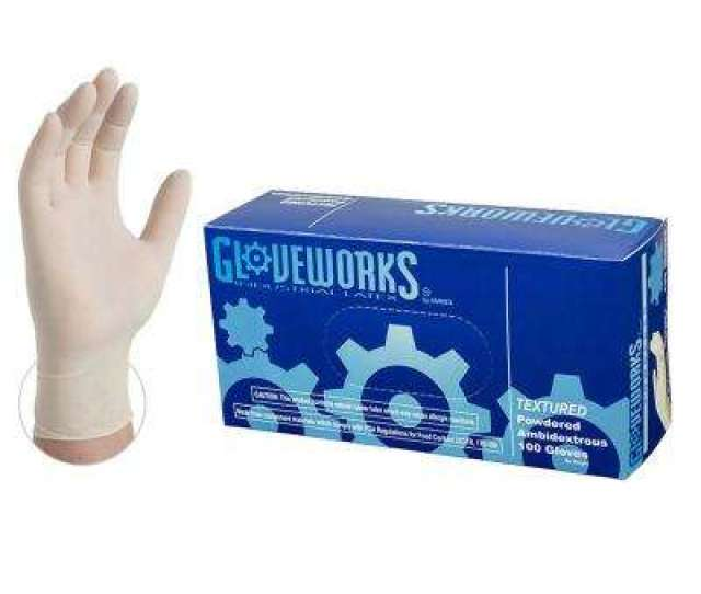 Extra Large  Mm Gloveworks Ivory Industrial Powdered Disposable Gloves  Box