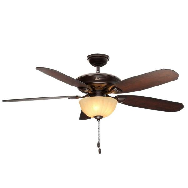 Hunter Markley 56 In. Indoor Onyx Bengal Bronze Ceiling Fan With Light-53255 - Home Depot