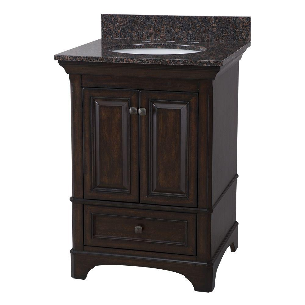 Home Decorators Collection Moorpark 25 in W x 22 in D Bath Vanity in Burnished Walnut with