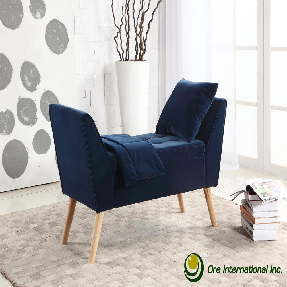 storage bench living room modern design philippines navy blue mid century with pillow and blanket hb4695 the home depot