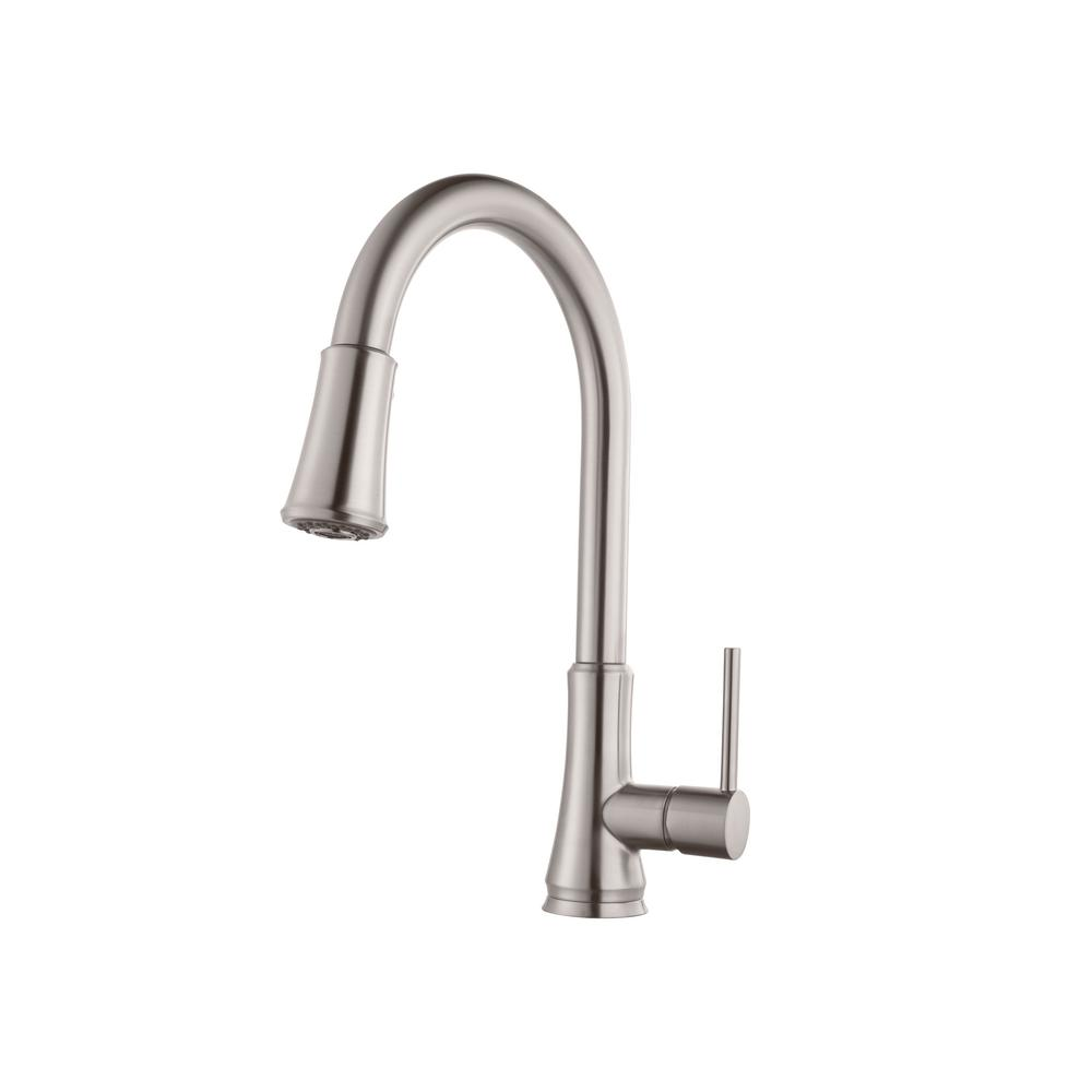 stainless steel kitchen faucets metal island cart pfister pfirst series single handle pull down sprayer faucet in