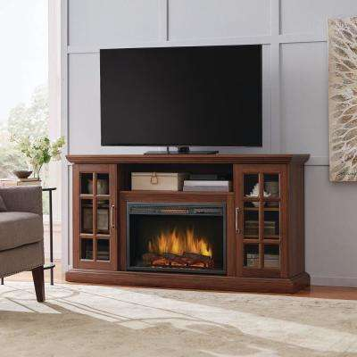 tv stand living room drapes and curtains ideas stands furniture the home depot freestanding infrared electric fireplace in burnished walnut