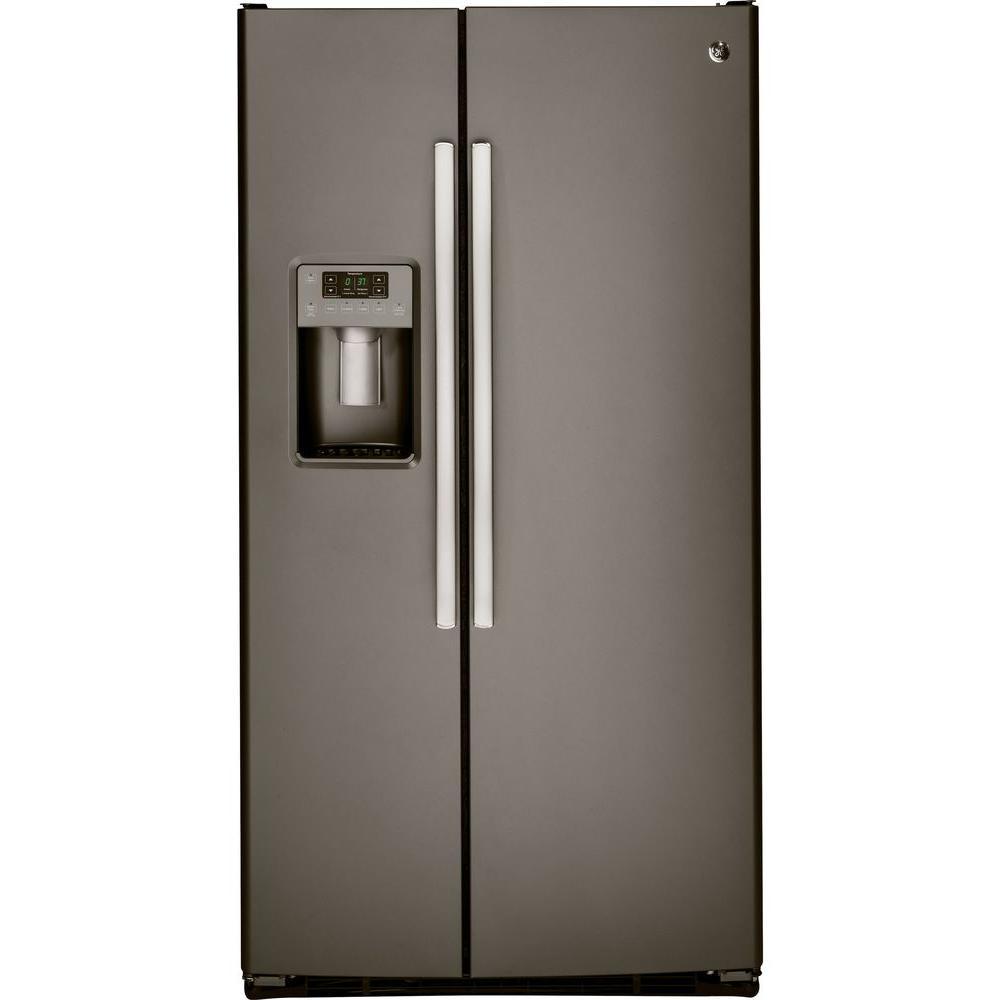 hight resolution of ge 25 3 cu ft side by side refrigerator in slate fingerprint resistant