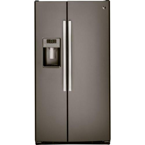 small resolution of ge 25 3 cu ft side by side refrigerator in slate fingerprint resistant