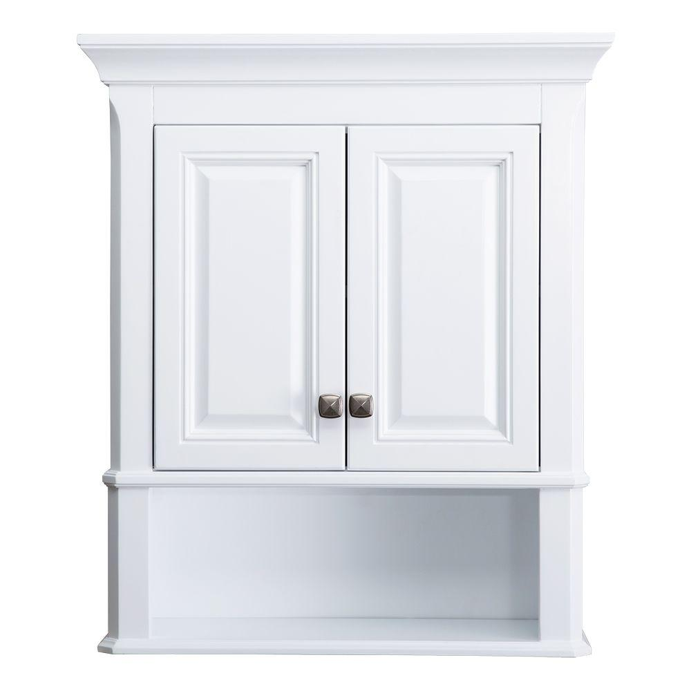 Wall Cabinets For Bathrooms Home Decorators Collection Moorpark 24 In W Bathroom Storage Wall Cabinet In White