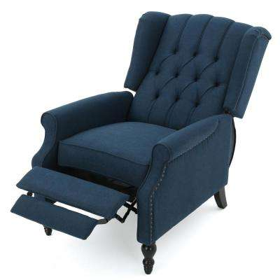 recliner chairs cheap theater with speakers recliners the home depot walter dark blue fabric