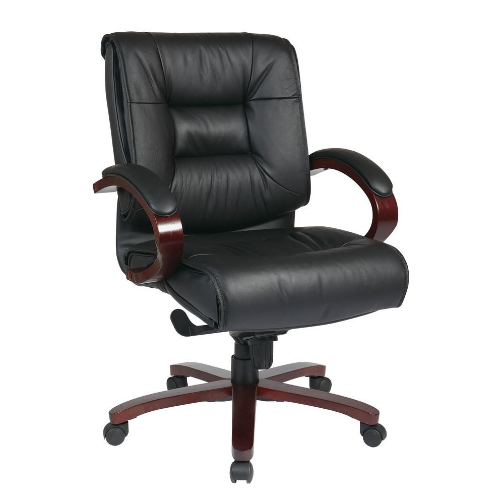Executive Leather Chair Black Leather Mid Back Executive Office Chair