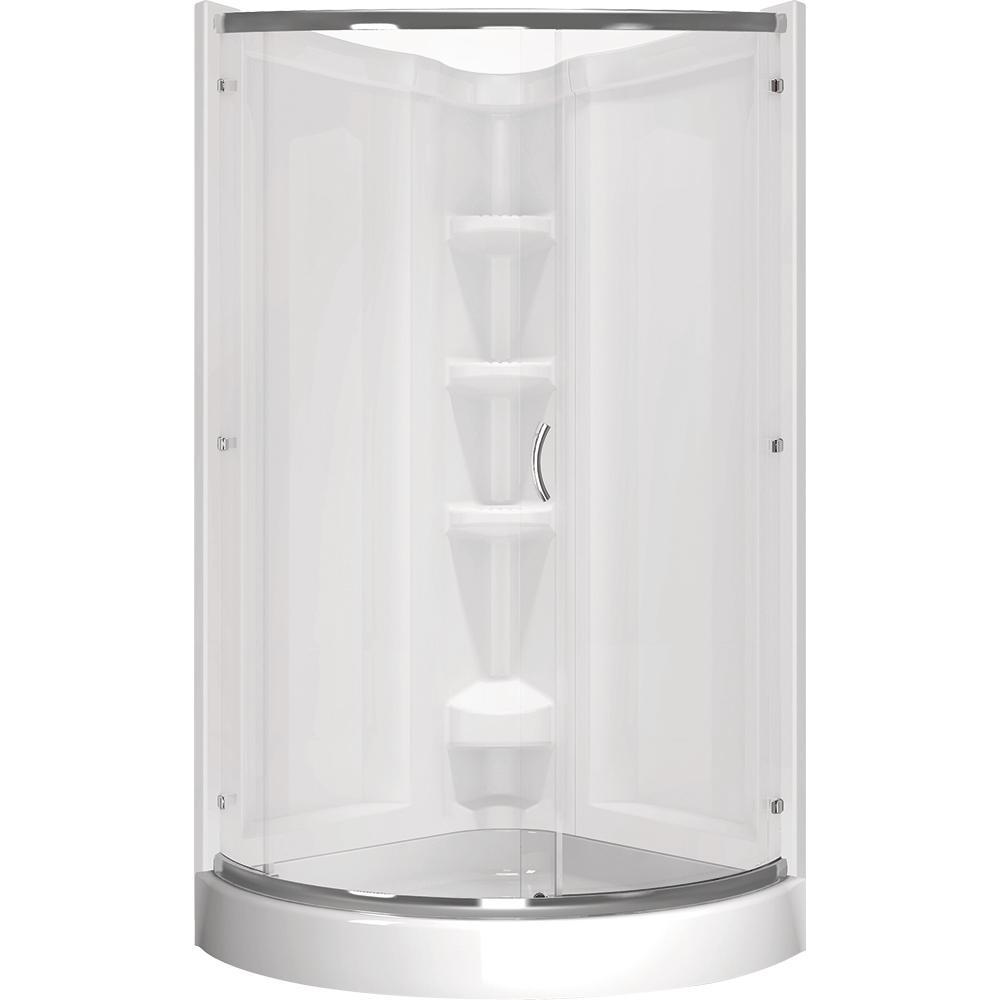 Delta Cerise 39 in x 72 in Corner Shower Kit in White