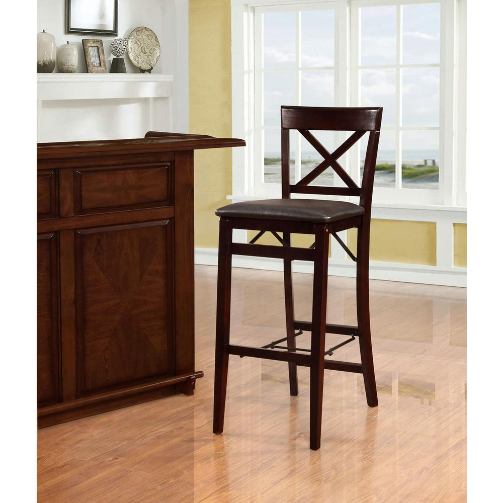 folding bar stool chairs dining room chair covers target australia linon home decor triena 30 in espresso x back