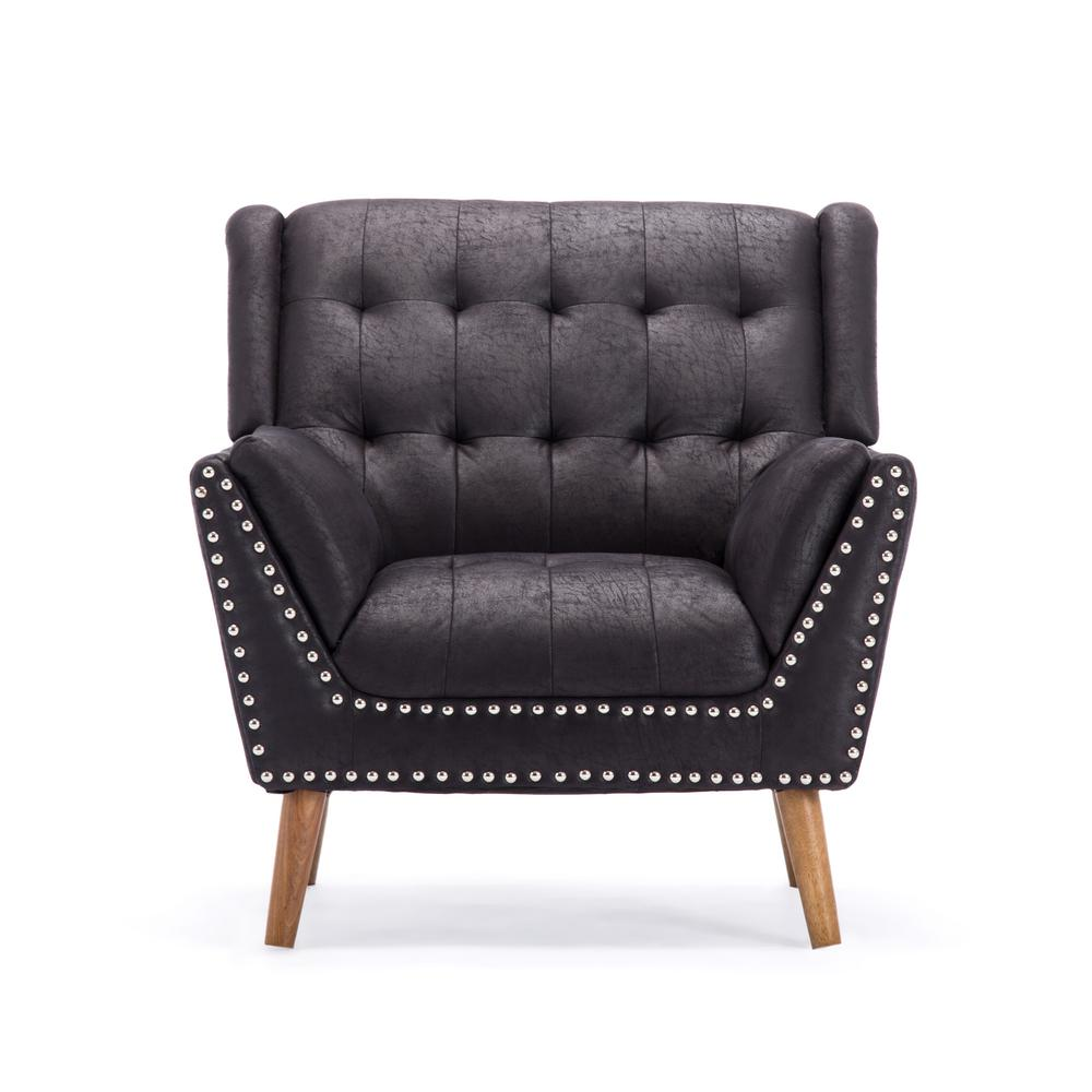 tufted nailhead chair burnt orange chairs noble house delia contemporary black microfiber club with nail head accents