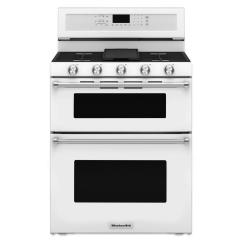 White Kitchen Aid Cabinet Organizer Kitchenaid 6 0 Cu Ft Double Oven Gas Range With Self Cleaning Convection