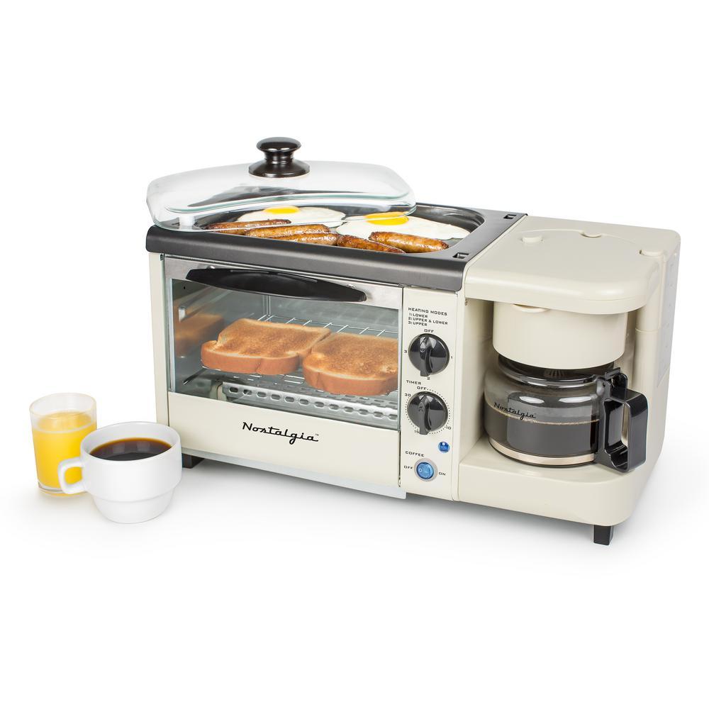3 in 1 kitchen window shutters nostalgia bisque breakfast station toaster oven bset100bc