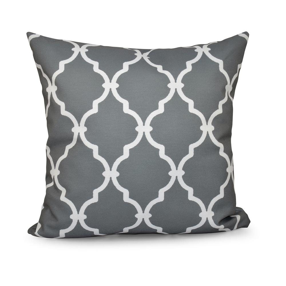 16 in x 16 in Trellis Grey Decorative PillowPGN6GY516