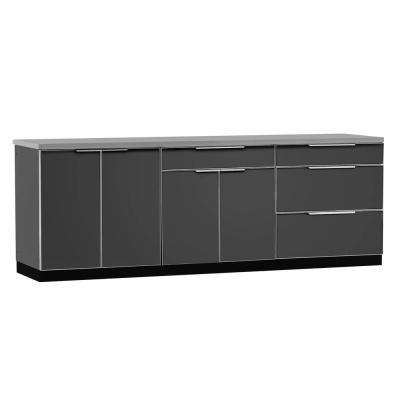 aluminum kitchen cabinets black stainless steel outdoor storage the slate 4 piece 97x36x24 in cabinet set