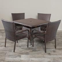 Noble House Wesley Multi-brown 5-piece Wicker Outdoor