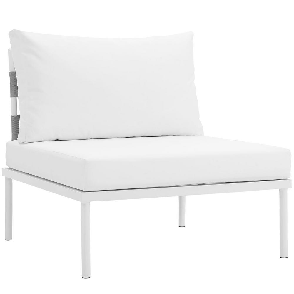 White Outdoor Lounge Chair Modway Harmony Armless Aluminum Outdoor Patio Lounge Chair In White With White Cushions