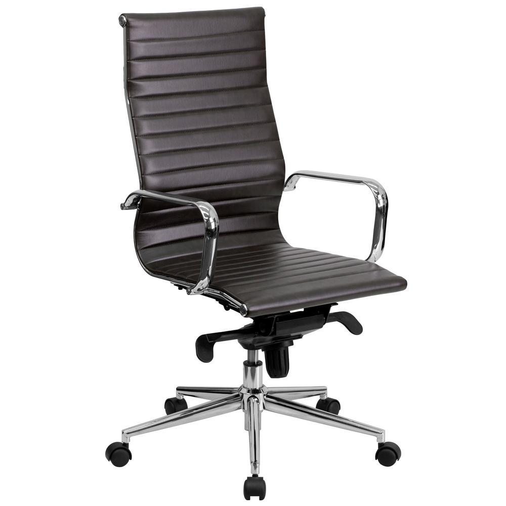 Flash Furniture High Back Brown Ribbed Upholstered Leather