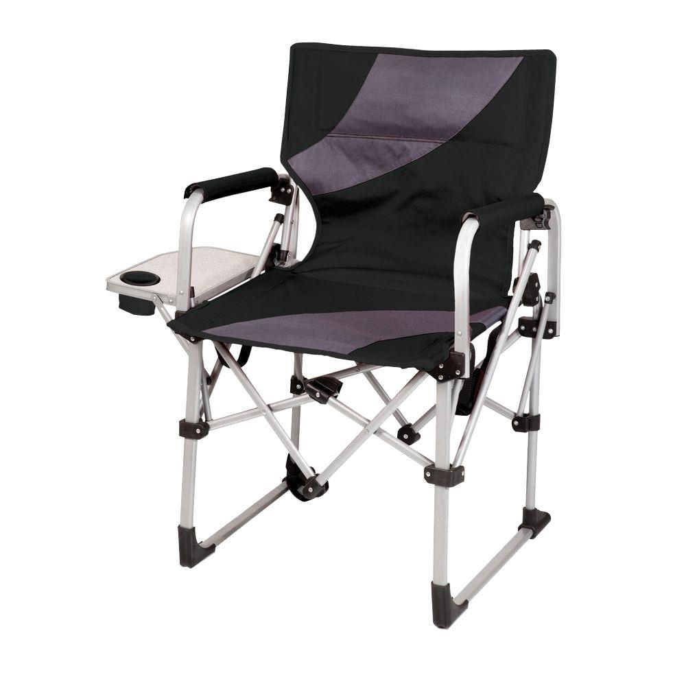 portable folding chairs dark brown wood dining picnic time black and grey meta all in one patio chair