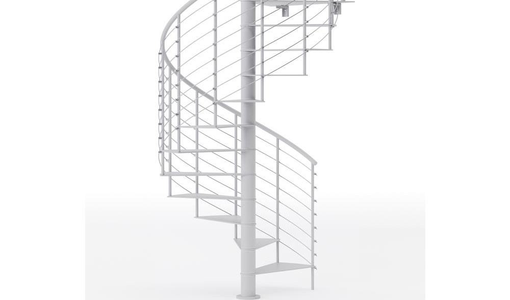 Mylen Stairs Hayden White 60 In 5 Ft In Wide 10 Treads With   5 Foot Spiral Staircase   Metal   Hayden Gray   Reroute Galvanized   Steel   Handrail