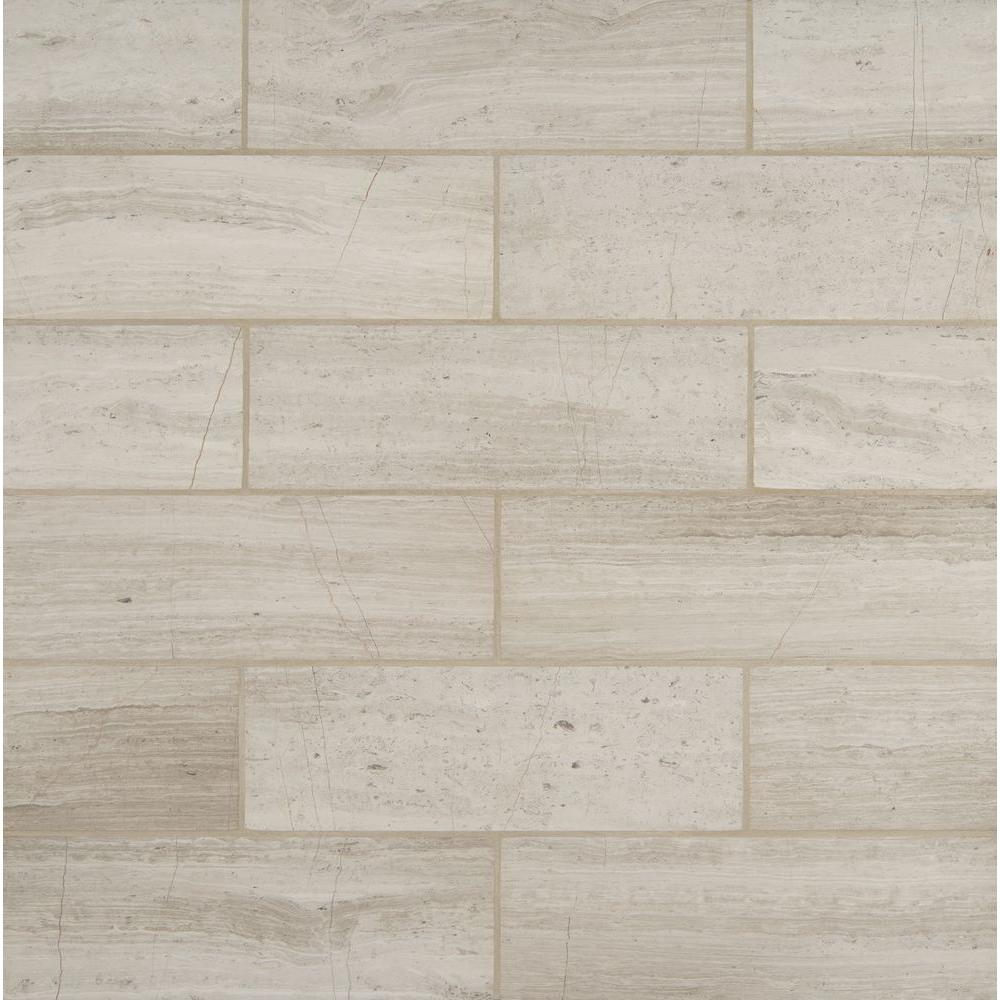 MSI White Oak 4 in x 12 in Honed Marble Floor and Wall