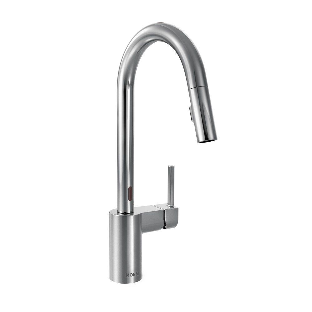 motion faucet kitchen high table moen align single handle pull down sprayer touchless with motionsense and power