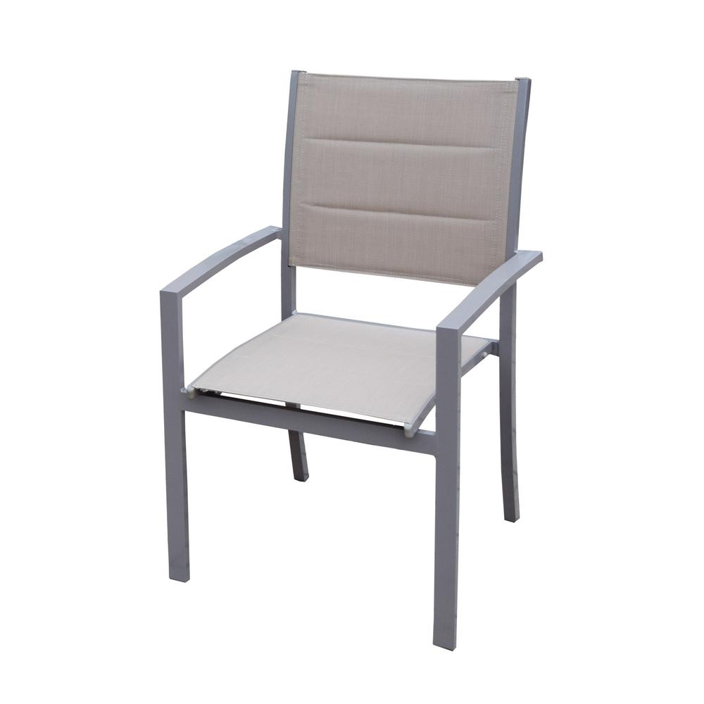 White Stackable Chairs Padded Stackable Sling Outdoor Dining Chair