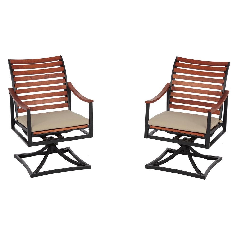 swivel rocker outdoor dining chairs banded blind chair patio the home depot plaza mayor rocking wood