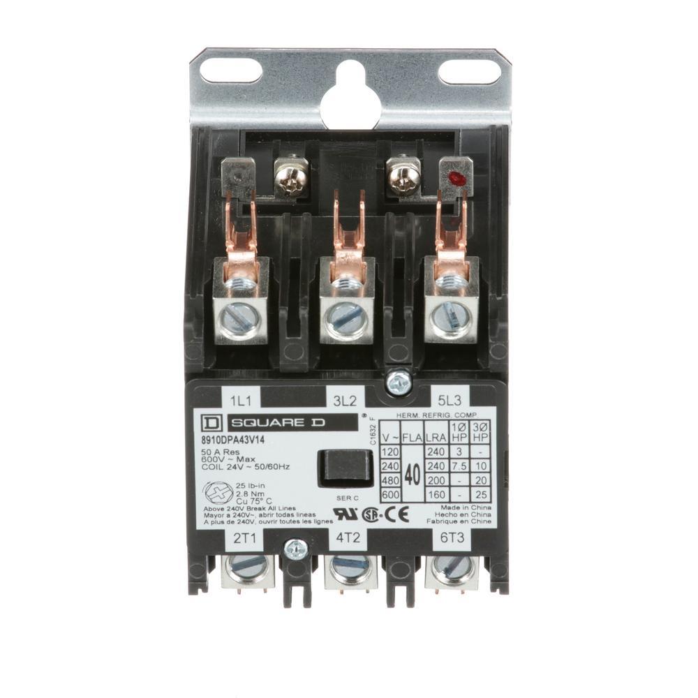medium resolution of 40 amp 24 volt ac 3 pole open definite purpose contactor 20 pack