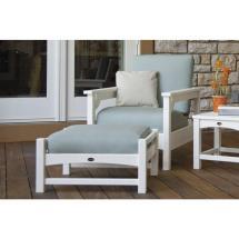 Polywood Club White 3-piece Plastic Patio Deep Seating Set