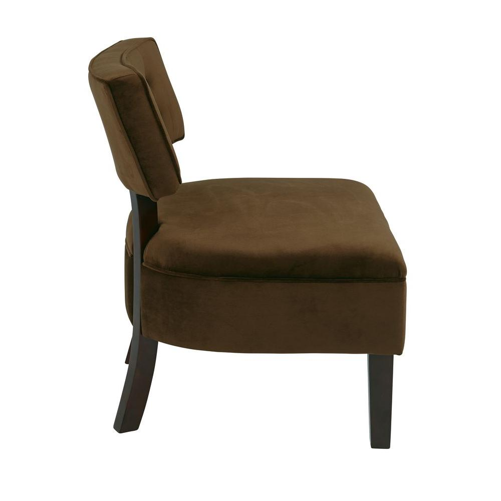 Curved Back Chair Ave Six Curves Spring Chocolate Velvet Accent Chair