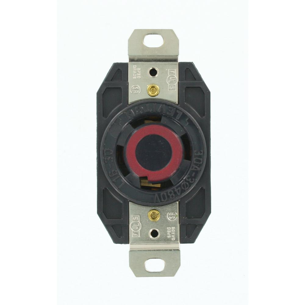 hight resolution of leviton 30 amp 480 volt 3 phase flush mounting grounding locking outlet black