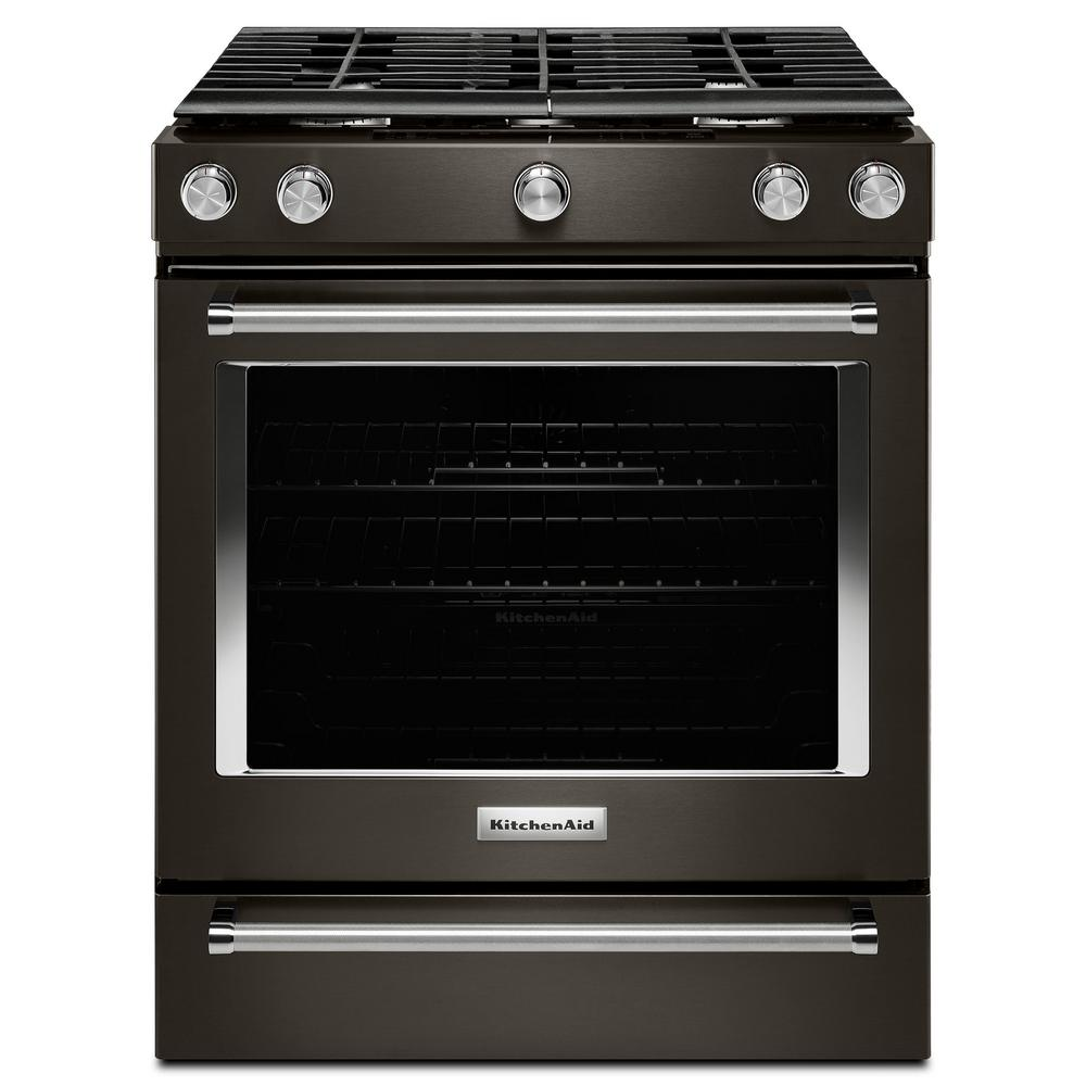 kitchen aid stove black and white table kitchenaid 5 8 cu ft slide in gas range stainless