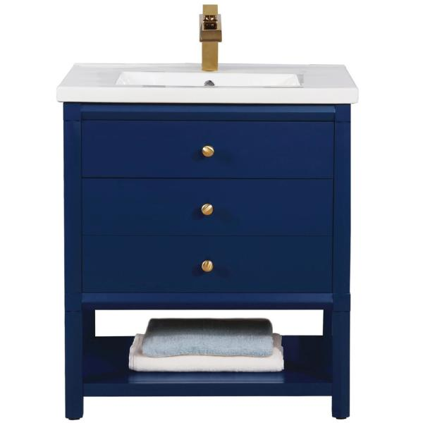 Design Element Logan 30 In W X 18 5 In D Bath Vanity In Blue With Porcelain Vanity Top In White With White Basin S07 30 Blu The Home Depot