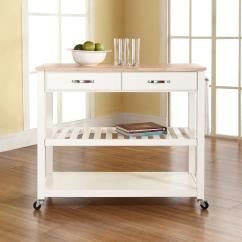 Crosley Kitchen Cart Calphalon Essentials Dutch Oven White With Natural Wood Top Kf30051wh The