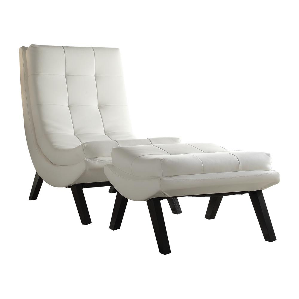 Leather Chairs With Ottoman Tustin White Lounge Chair And Ottoman Set