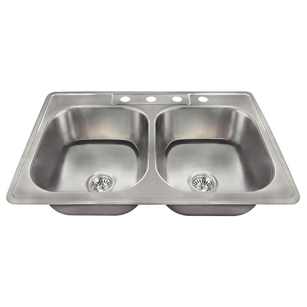 Polaris Sinks Drop In Stainless Steel 33 In 4 Hole Double