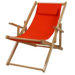 Beach Sling Chair Reception Room Chairs Casual Home Natural Frame And Orange Canvas Solid Wood Chair-114-00/011-19 - The Depot
