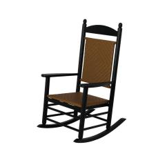 Outdoor Rocking Chairs Crushed Velvet Chair Covers Uk Polywood Jefferson Black Woven Patio Rocker With Tigerwood Weave