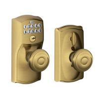 Schlage Georgian Antique Brass Keypad Electronic Door Knob ...