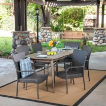 Noble House Haven Gray 7-piece Wood And Wicker Outdoor