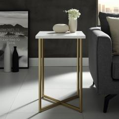 White Living Room Side Table Rooms With Blue Couches Walker Edison Furniture Company 16 In Marble Top Gold Legs Square