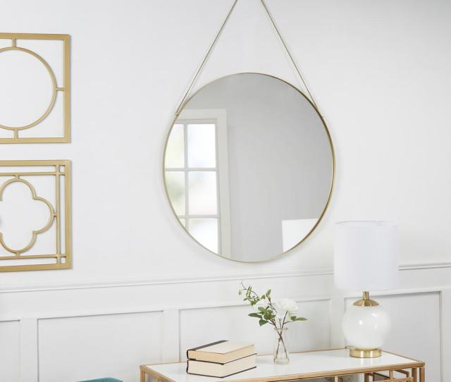 Silverwood Furniture Reimagined Marlaina Round Gold Hanging Chain Wall Mirror Cpdm1050 The Home Depot
