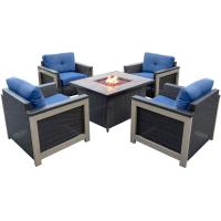 RST Brands Deco 5-Piece All-Weather Wicker Patio Fire Pit ...