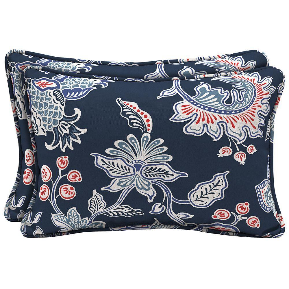 Hampton Bay Caroline Lumbar Outdoor Pillow 2Pack