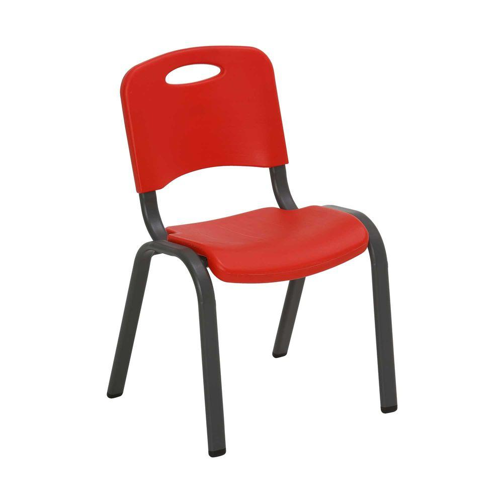 Plastic Kids Chairs Lifetime Fire Red Stacking Kids Chair Set Of 4 80532 The Home