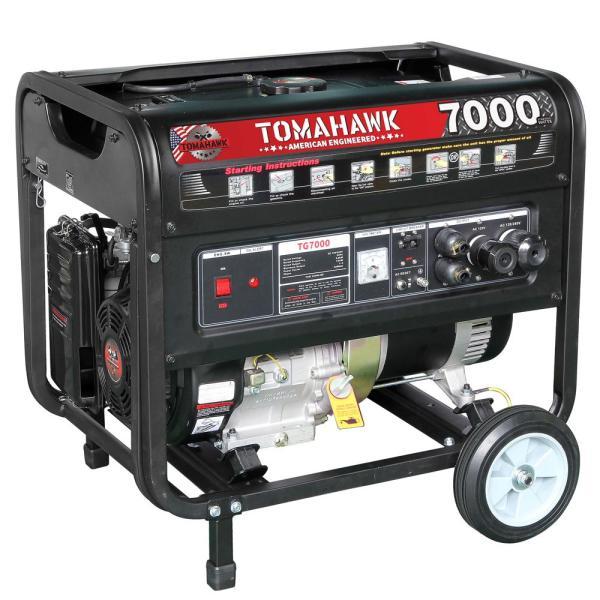 Tomahawk Tg7000 5000-watt Gas Powered Recoil Start Portable Generator With 13 Hp Engine-tg7000